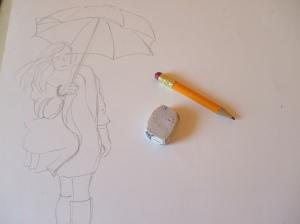 Bozzetto iniziale di marzo con l'ombrello