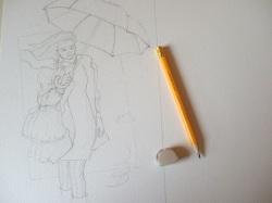 marzo con ombrello a matita