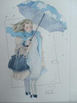 marzo con ombrello acquarellato