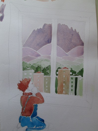 sguardo verso le montagne bozzza colorata